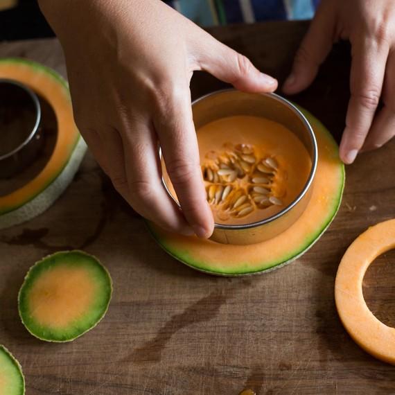 Cut the cantaloupe