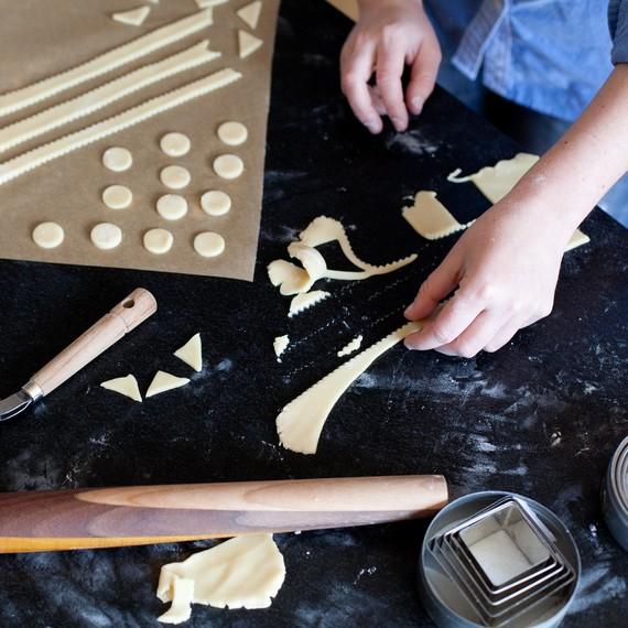 Cut out dough shapes for top crust decoration