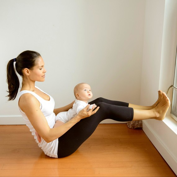Mommy Yoga Half-Boat Pose