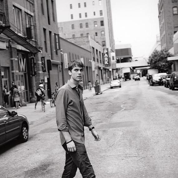Carter Cleveland walking across street