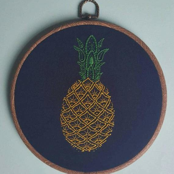 Pineapple paisley embroidery