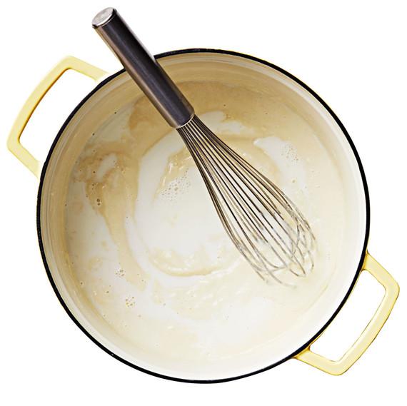 bechamel sauce pot whisk