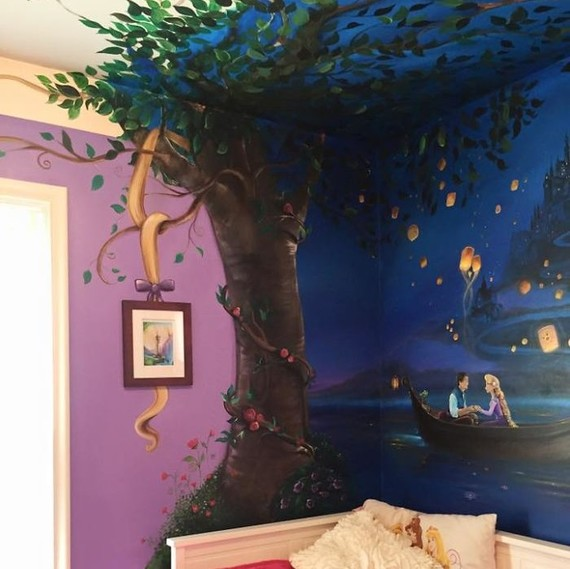 """A painted mural depicting a scene from Disney's """"Tangled"""""""