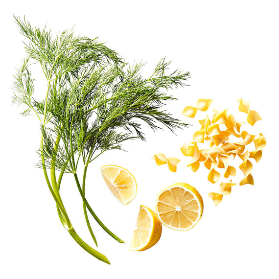 dill, lemon, and noodles