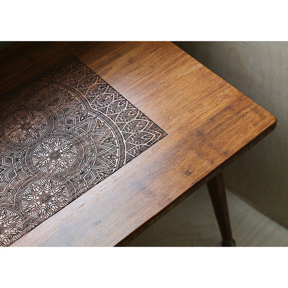 Henna inspired wood burning creates stunning accent tables for Burned wood furniture