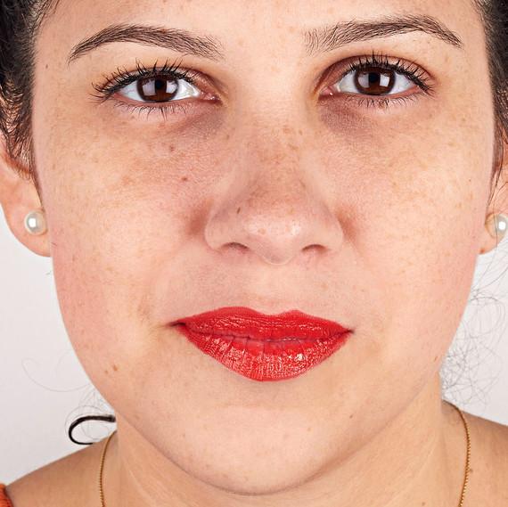 orange red lipstick