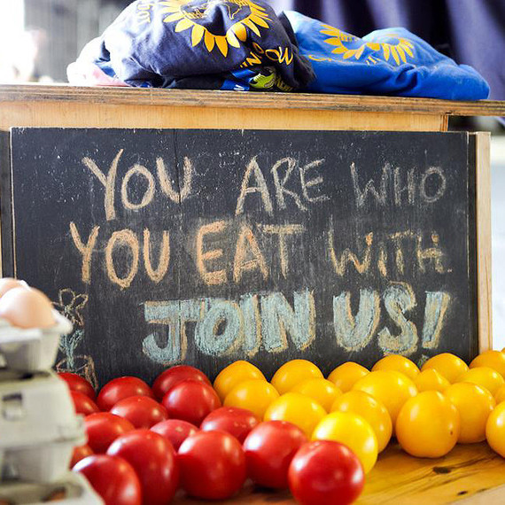 You are what you eat chalkboard sign with tomatoes