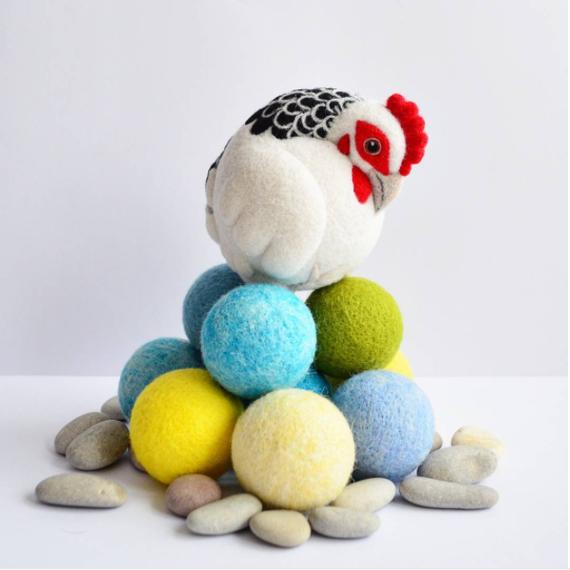 Chicken on rocks