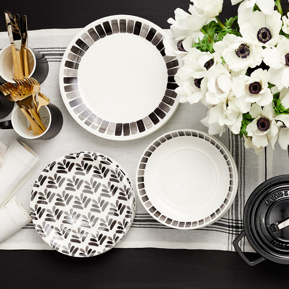 macy's heirloom table collection black white