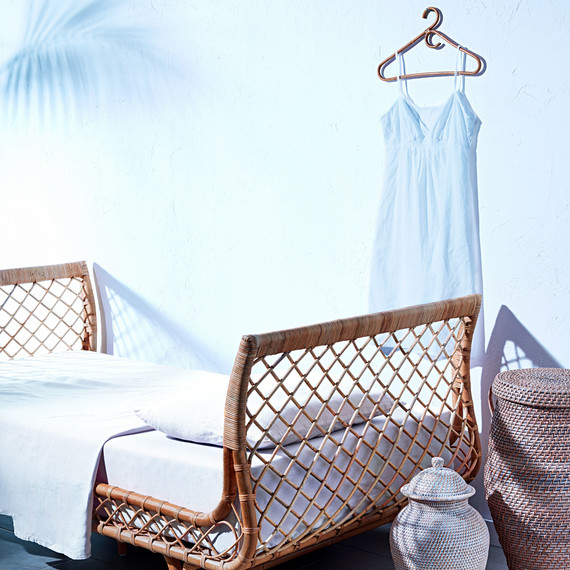 rattan bed frame with baskets