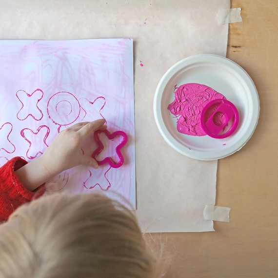 Cookie cutter stamping on valentines