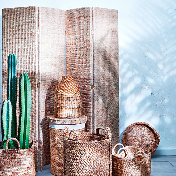 water hyacinth baskets and screen