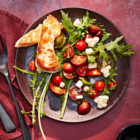 cherry tomato corn halloumi salad