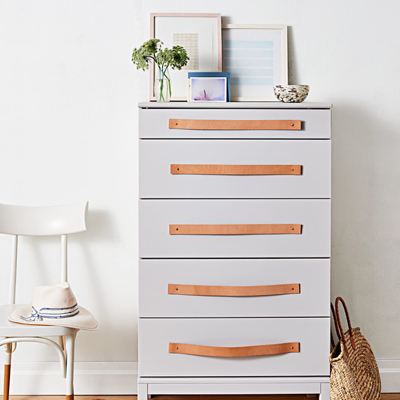 ikea dresser with leather cord handle upgrade