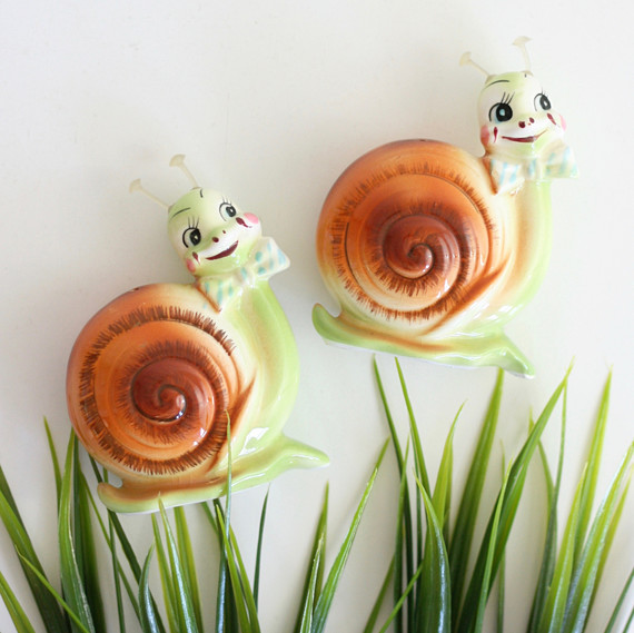 snail vintage salt and pepper shakers