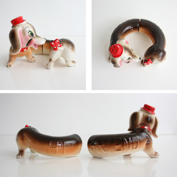 dachshund salt and pepper shakers