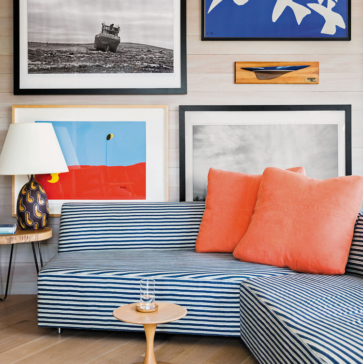 artwork striped couch