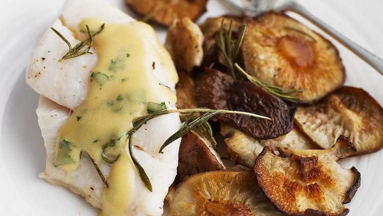 roasted shiitakes and pacific cod