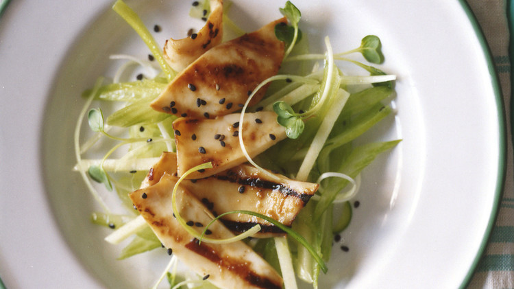 Grilled Squid with Ginger, Celery, and Apple Slaw