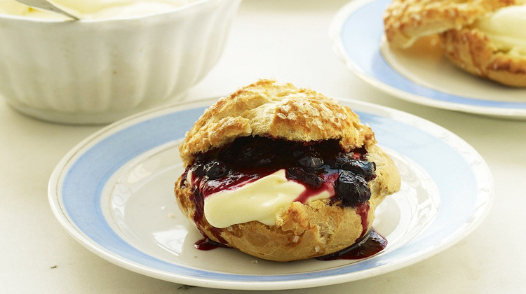Cream Puffs with Lemon Mousse and Blueberry Sauce