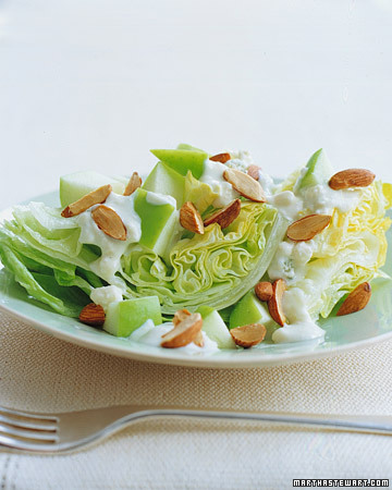 Iceberg Lettuce with Blue-Cheese Dressing and Toasted Almonds