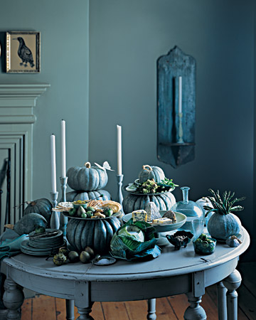 fall decoration blue pumpkins