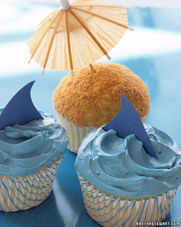 Shark and Beach Cupcakes