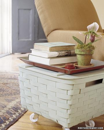 Basket table storage on wheels step by step diy craft for Craft table with storage on wheels