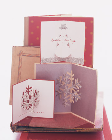 Glittered pop up christmas cards martha stewart for 3d xmas cards to make