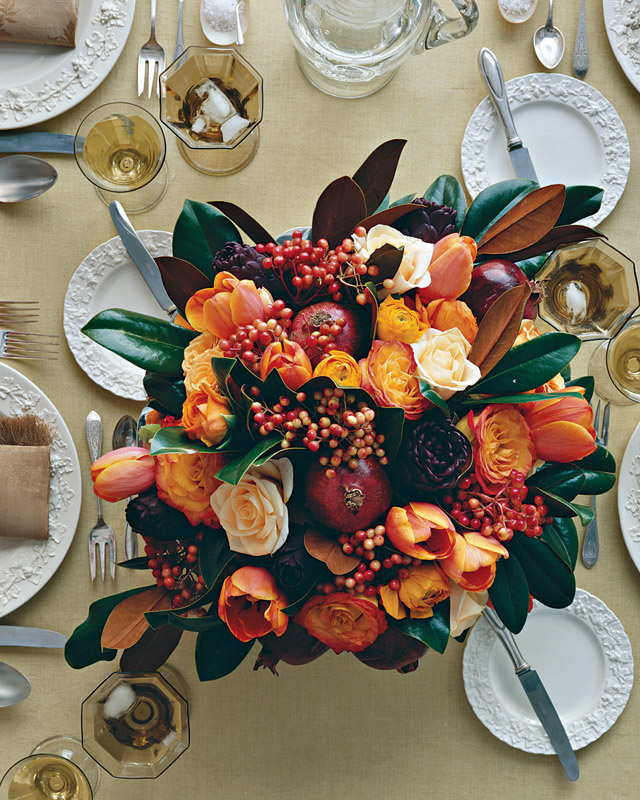 Thanksgiving Centerpiece With Pomegranates Tulips And