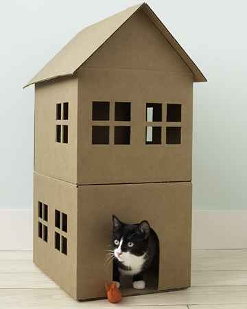 how to make a cardboard cat playhouse martha stewart pet projects cat house 360x450