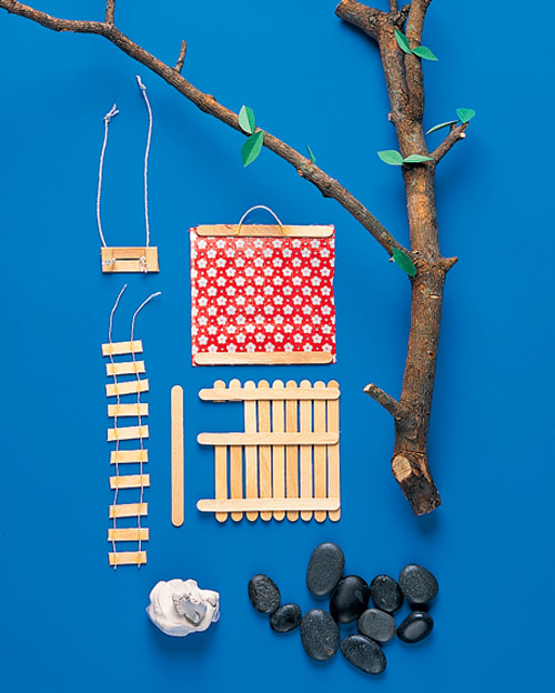 Popsicle stick tree house car interior design for How to build a treehouse with sticks