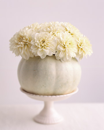 white dahlia white pumpkin wedding centerpiece