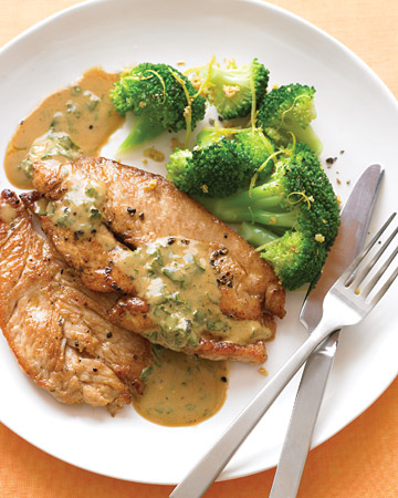 ... chicken cutlets would work equally well with this mustardy pan sauce
