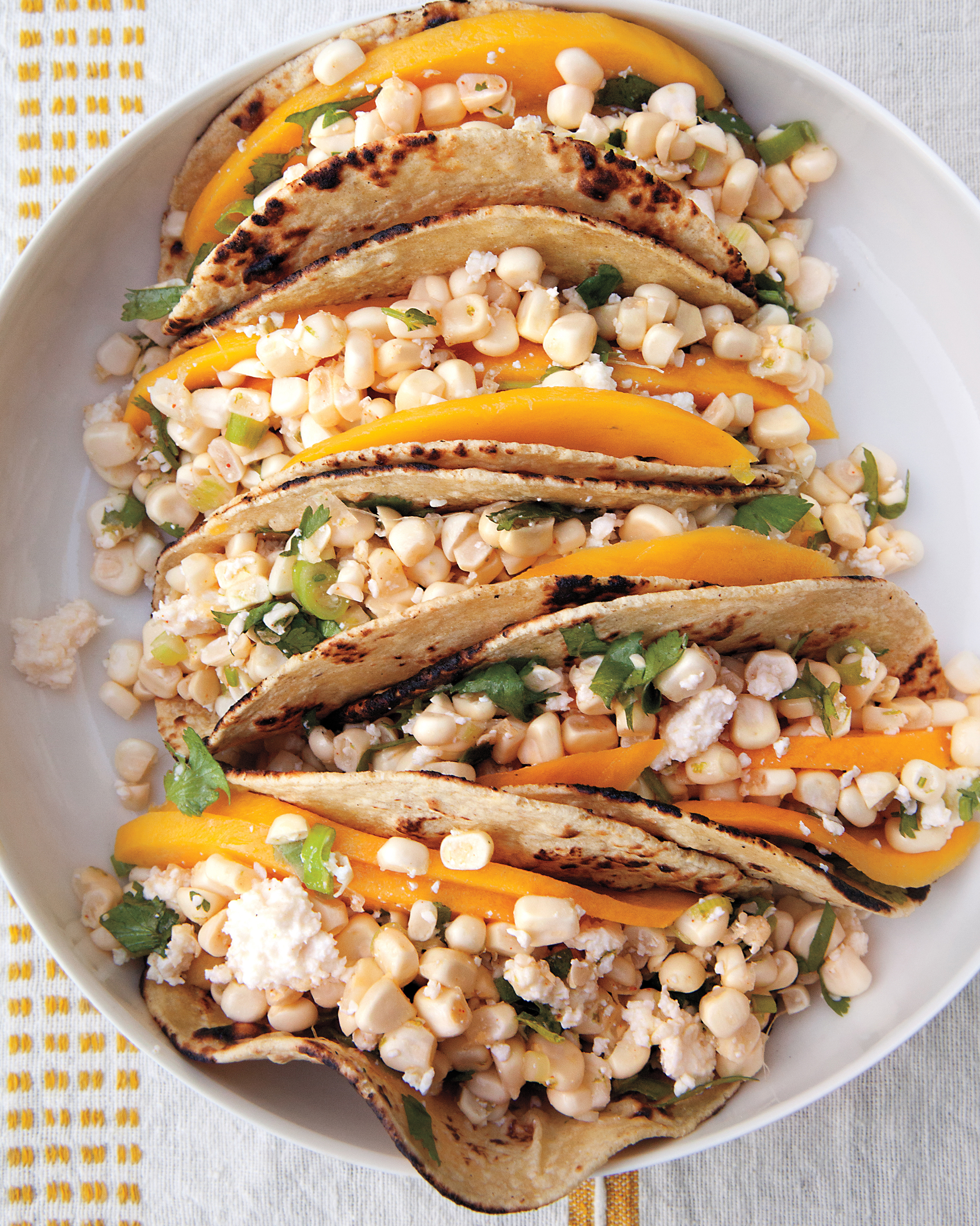 Cotija and Corn Tacos with Lime and Mango