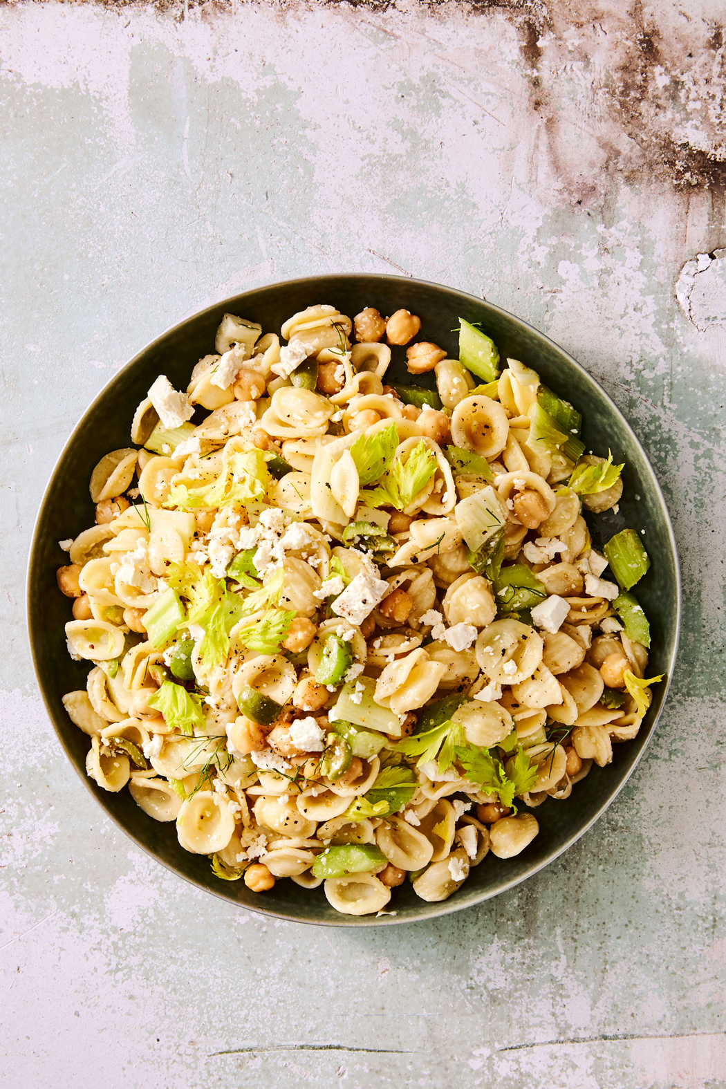 Orecchiette, Celery, and Olive Salad with Ricotta Salata