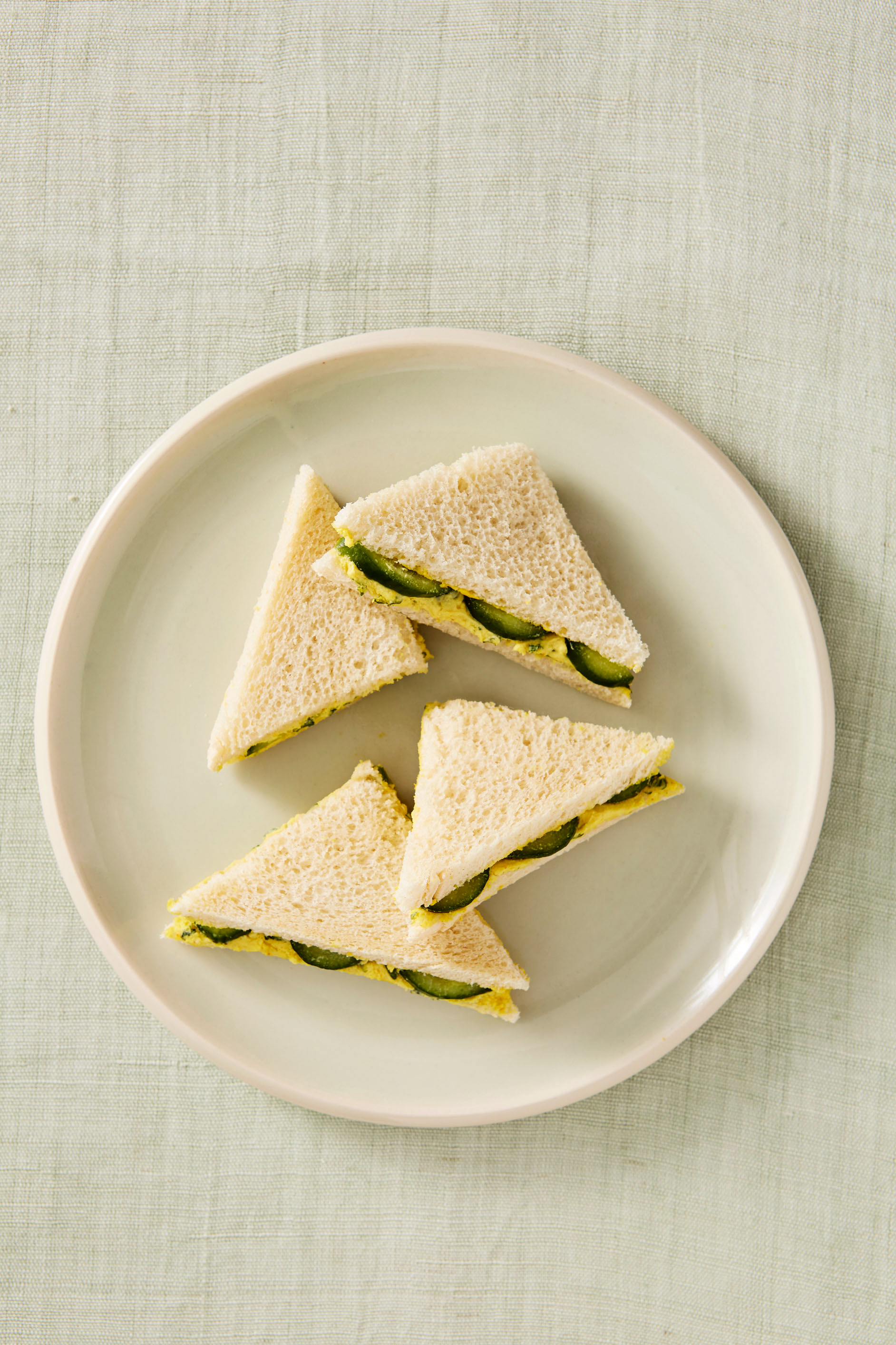 curried egg and butter tea sandwiches