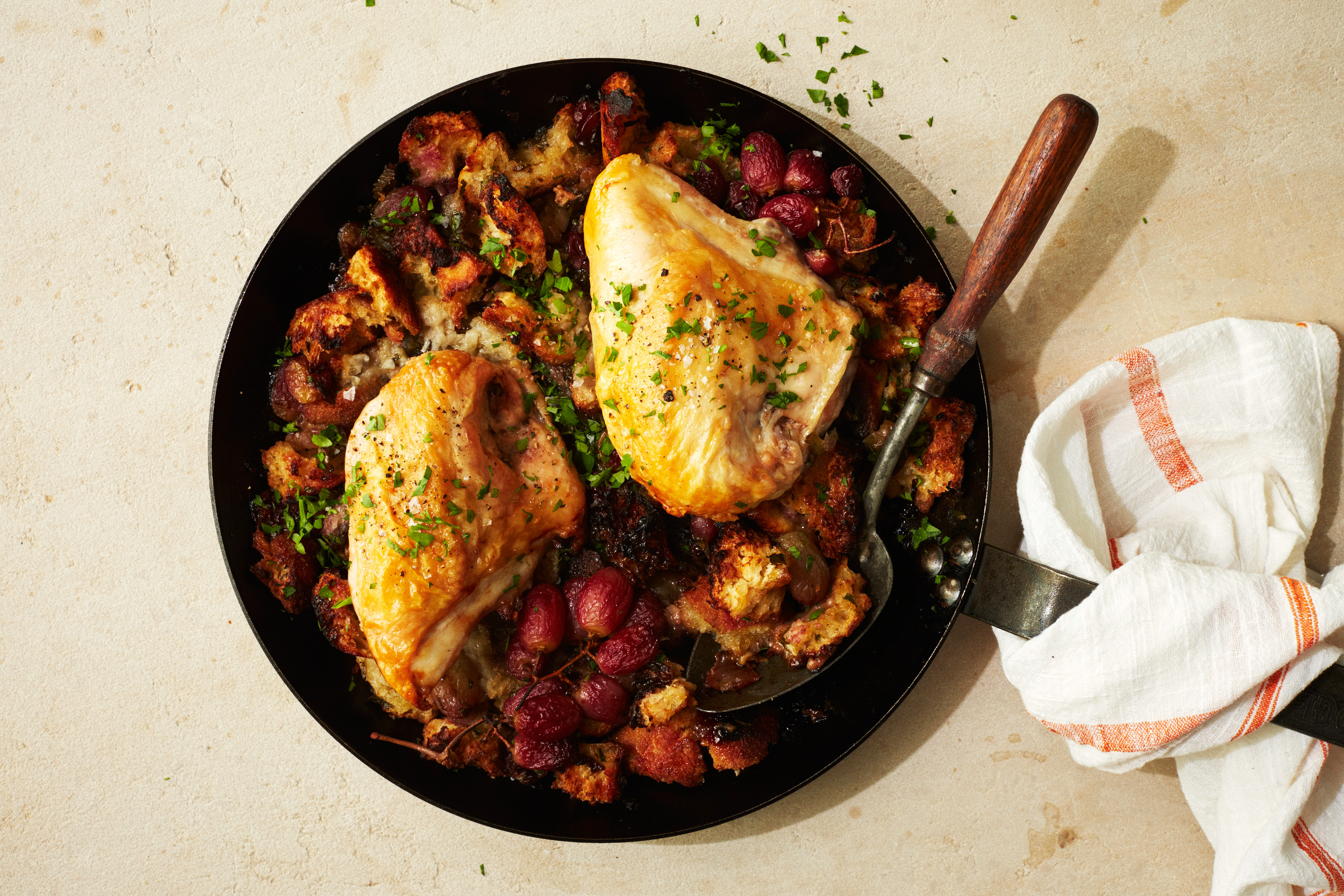 Roasted Chicken Breast With Grape Stuffing