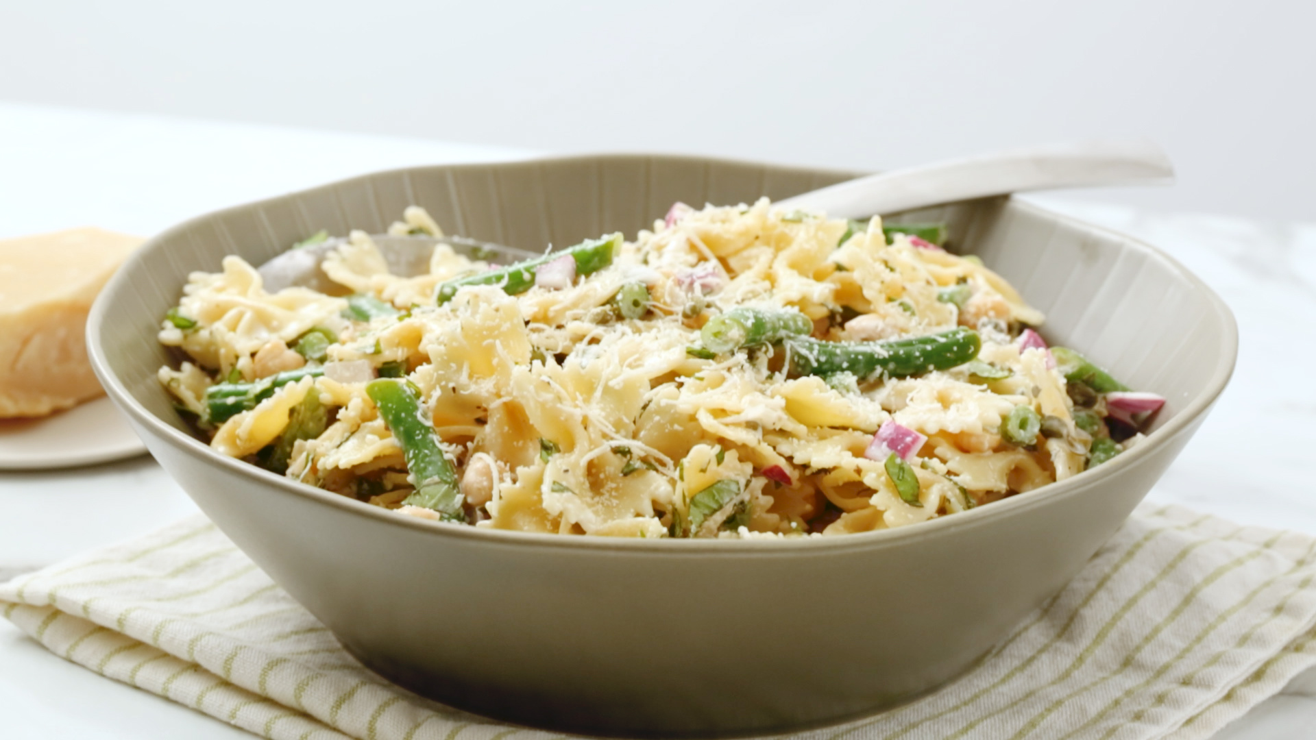 Pasta Salad With Chickpeas Green Beans And Basil