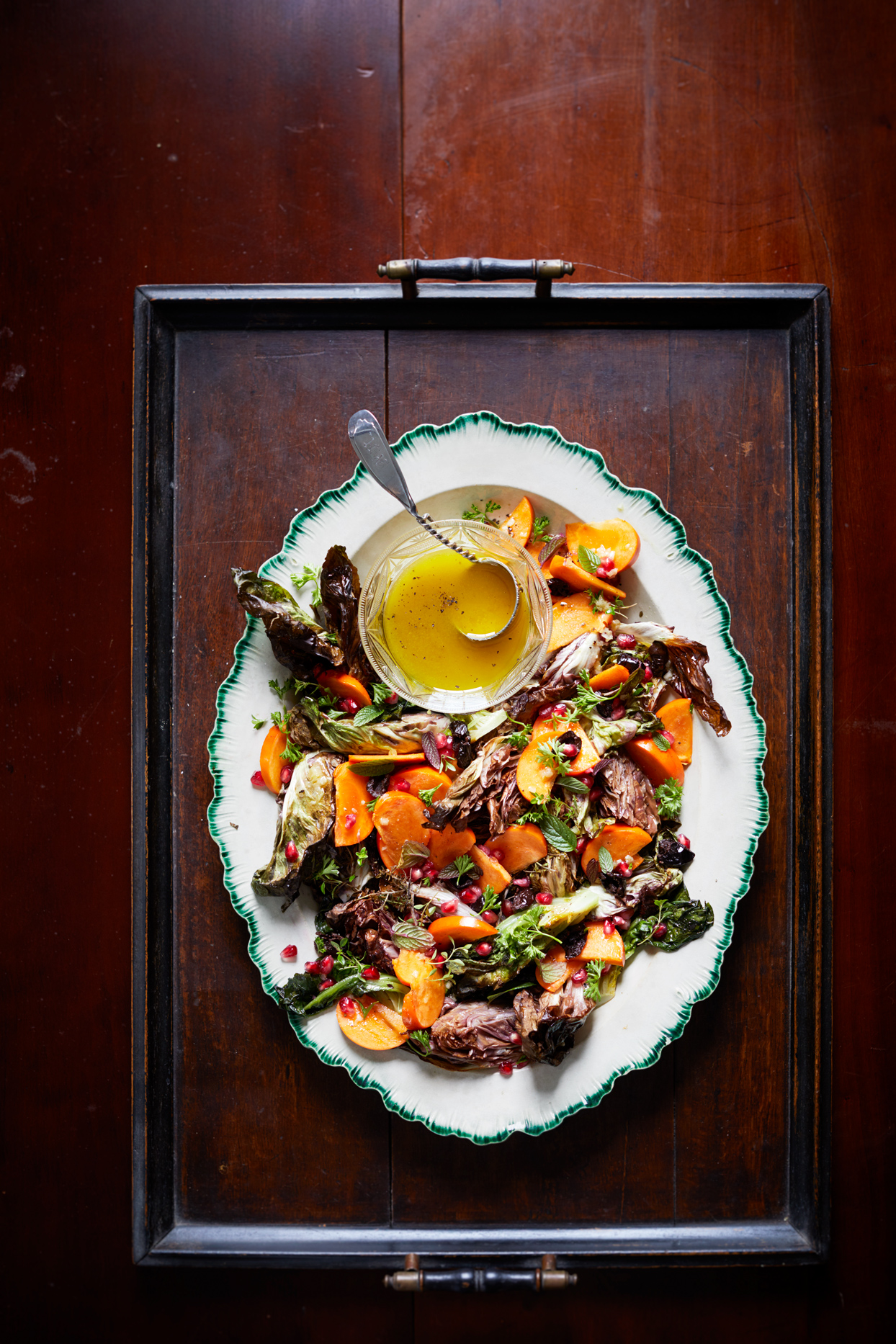 Persimmons and Roasted Chicories with Shallot Vinaigrette
