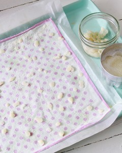 beeswax pellets on fabric wrap