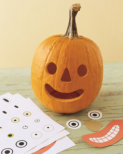 Tape Features On The Regular Weight Paper Onto Pumpkin To Use As A Template Trace By Poking Holes Around Edges Of Each Feature With An Awl