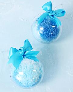 two blue bath bomb ornaments