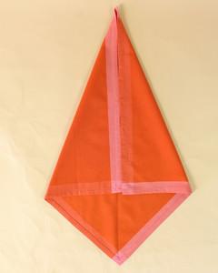 turkey folded diamond shape orange napkin step four
