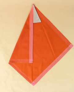 turkey left side fold orange napkin step six