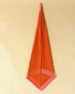turkey thin diamond fold orange napkin step eight