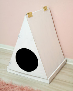 plywood litter box house painted white