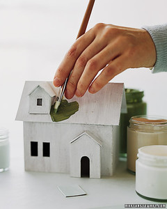 Winter village homemade house martha stewart the finish coat paint the house exterior only and the door panel let dry attach the door panel paint a little snow using white paint along solutioingenieria Choice Image