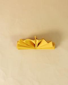 turkey yellow napkin fold step fourteen