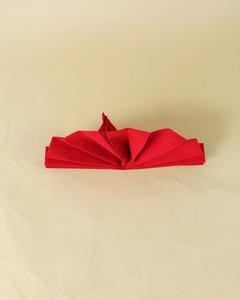 turkey shape red napkin folded step seventeen